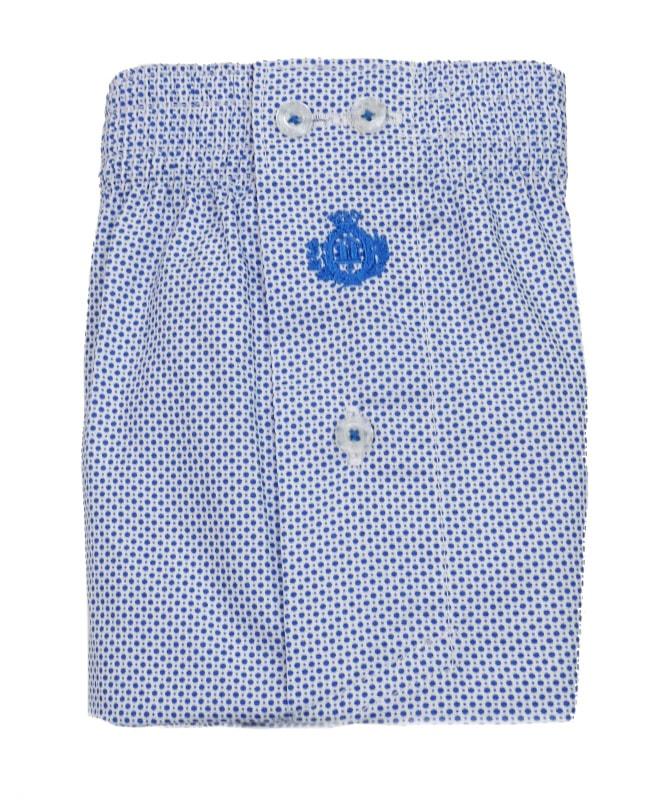 Talla Especial. Boxer Guasch de tela blanco con topitos azules