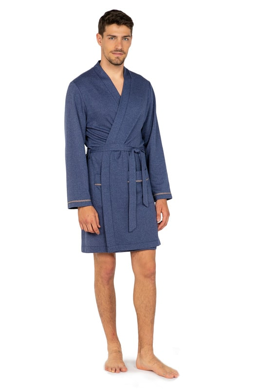 Bata de verano Soy Underwear cruzada en Azul