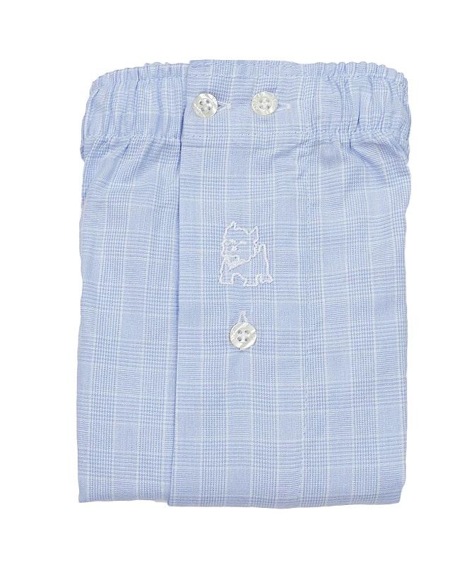 Boxer Kiff-kiff de tela en azul claro (estilo Principe de Gales)