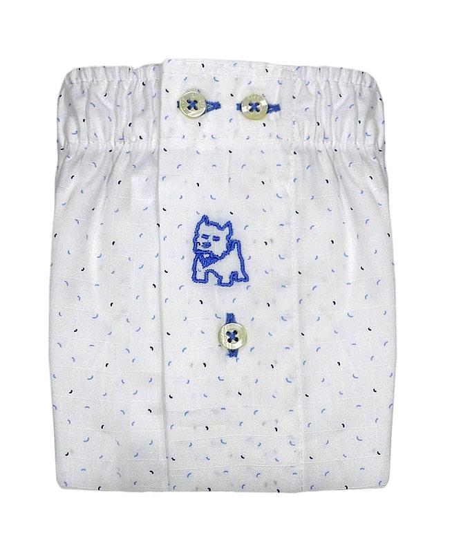 Boxer Kiff-kiff de tela en blanco con chispitas en azul