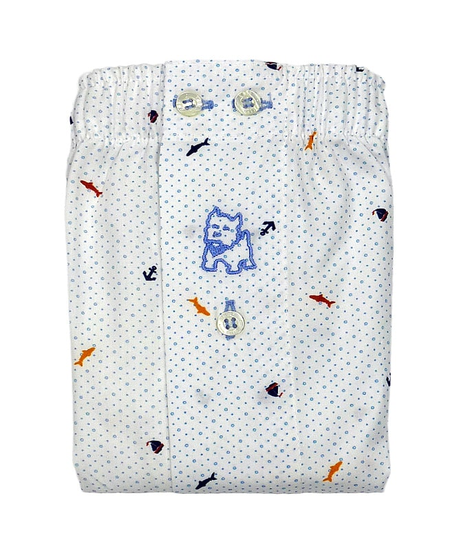 Boxer Kiff-kiff de tela en blanco con topitos y motivos marinos