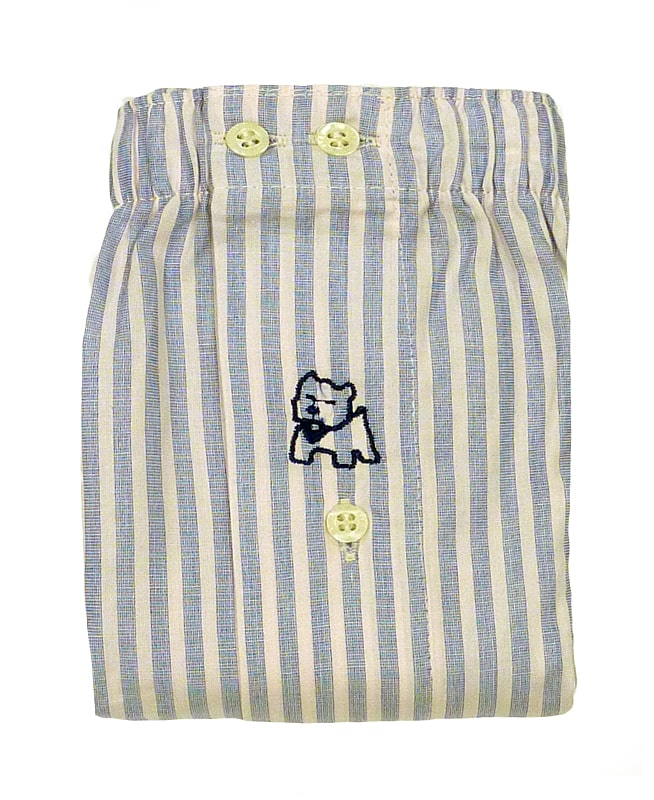 Boxer Kiff-kiff de tela a rayas en azul y rosa