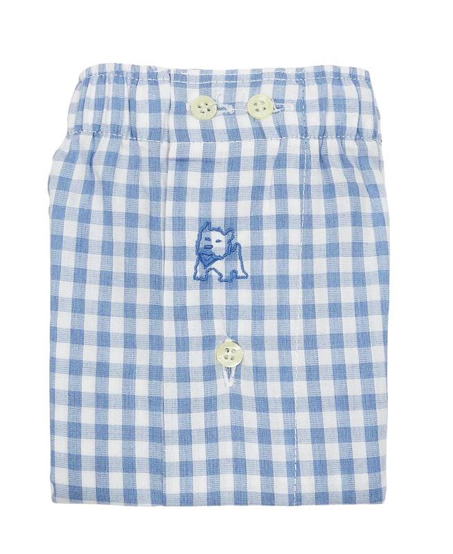 Boxer Kiff-kiff de tela a cuadritos en azul y blanco