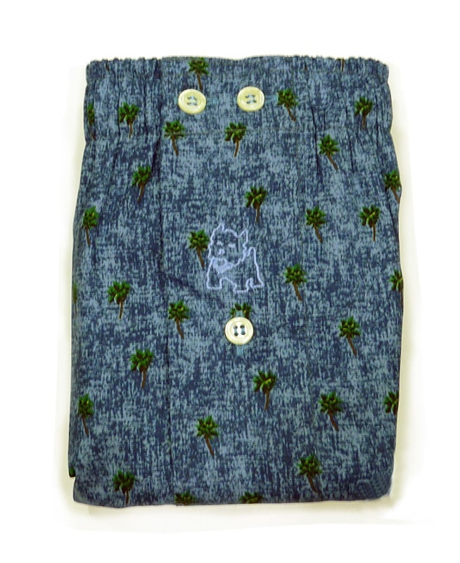 Boxer Kiff-kiff de tela azul con palmeras