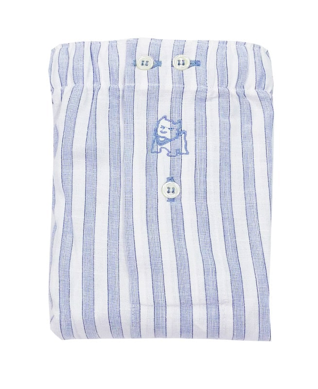 Boxer Kiff-kiff de tela a rayitas en blanco y azul cielo