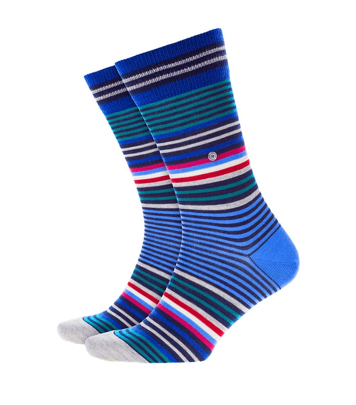 Calcetines Burlington Stripe de lana a rayas en azul