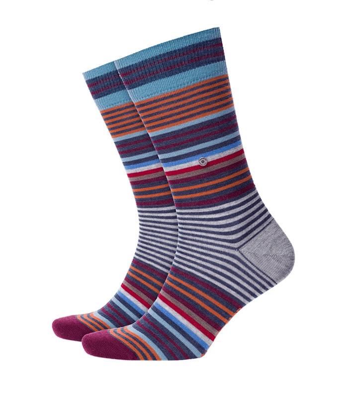 Calcetines Burlington Stripe de lana a rayas en gris