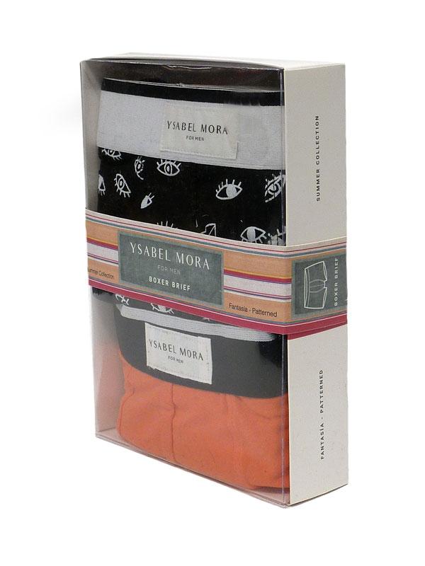 2 Pack Ysabel Mora Underwear Boxer Naranja y Negro con prints