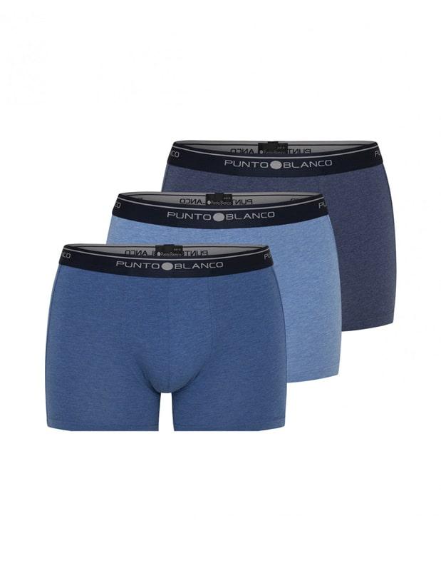 3 Pack Punto Blanco Boxer Basix Azules