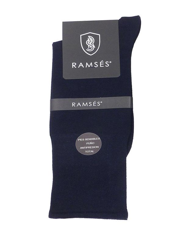 Calcetín Ramsés Hilo de Escocia puño anti-presión en azul marino