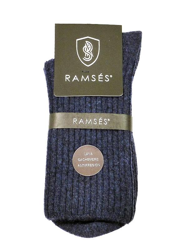 Calcetín Ramsés de lana cachemere anti-presión en azul