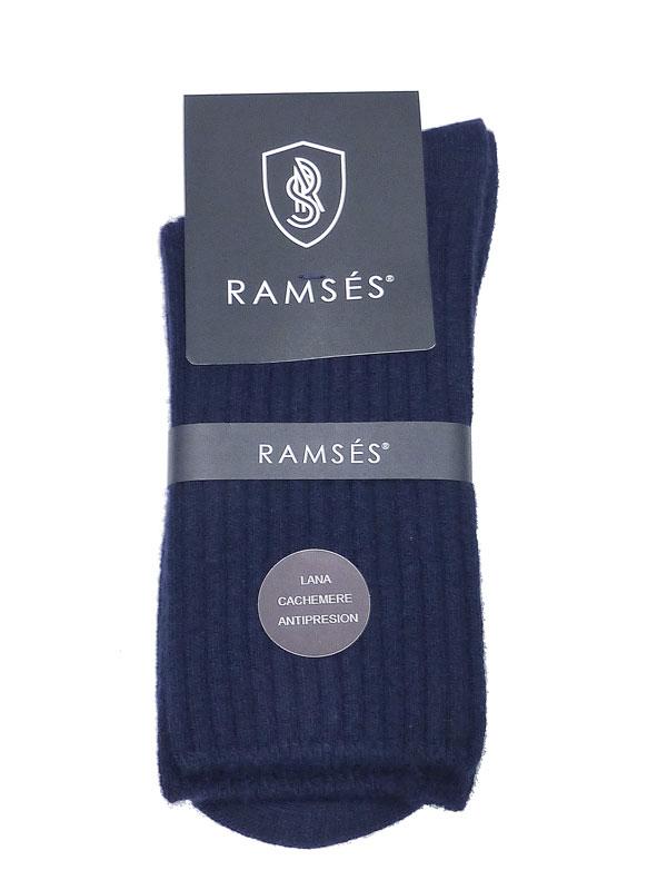 Calcetín Ramsés de lana cachemere anti-presión en azul marino