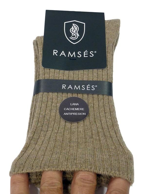 Calcetín Ramsés de lana cachemere anti-presión en beige/camel