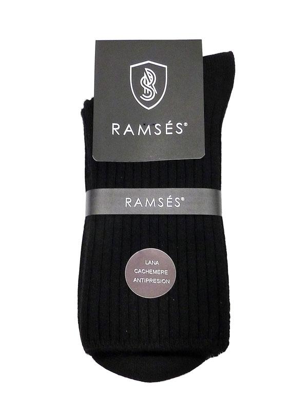 Calcetín Ramsés de lana cashmere anti-presión en negro