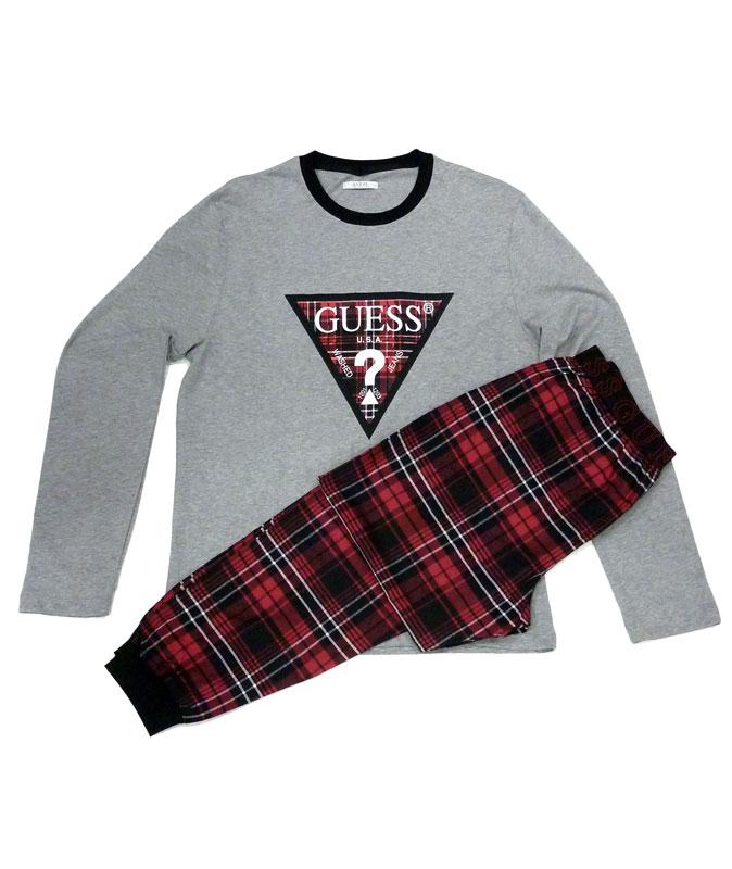 Pijama GUESS en algodón gris con puños