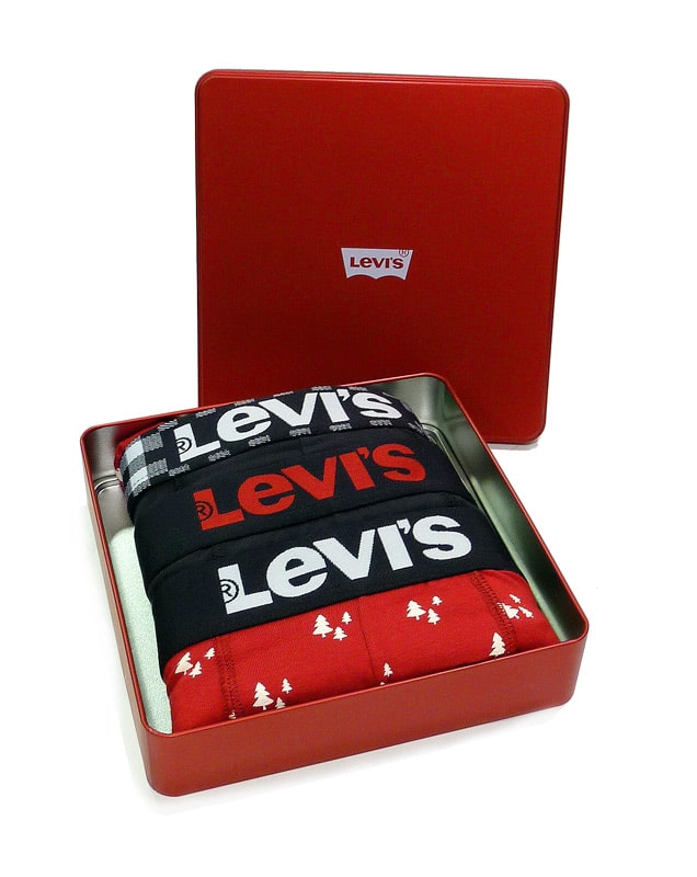 3 Pack Boxers Levi´s Caja Ed. Navidad Rojo