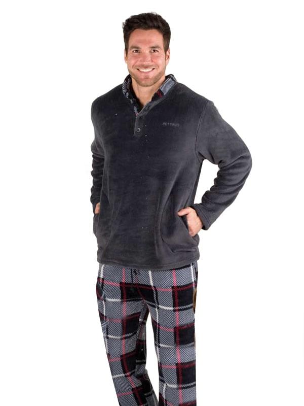 Pijama Pettrus Man Térmico Polar combinado en Gris