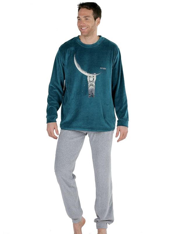 Pijama Pettrus Man Terciopelo Astronauta con puños