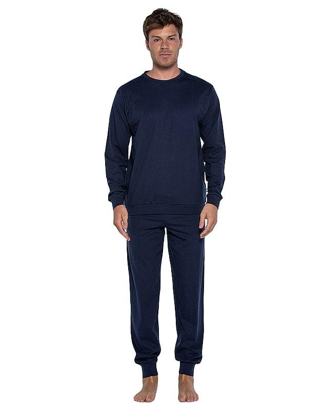Pijama Punto Blanco Organix de Algodón en azul marino con puños