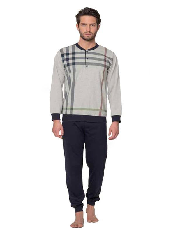 Pijama Alpina en algodón mercerizado con puños elásticos