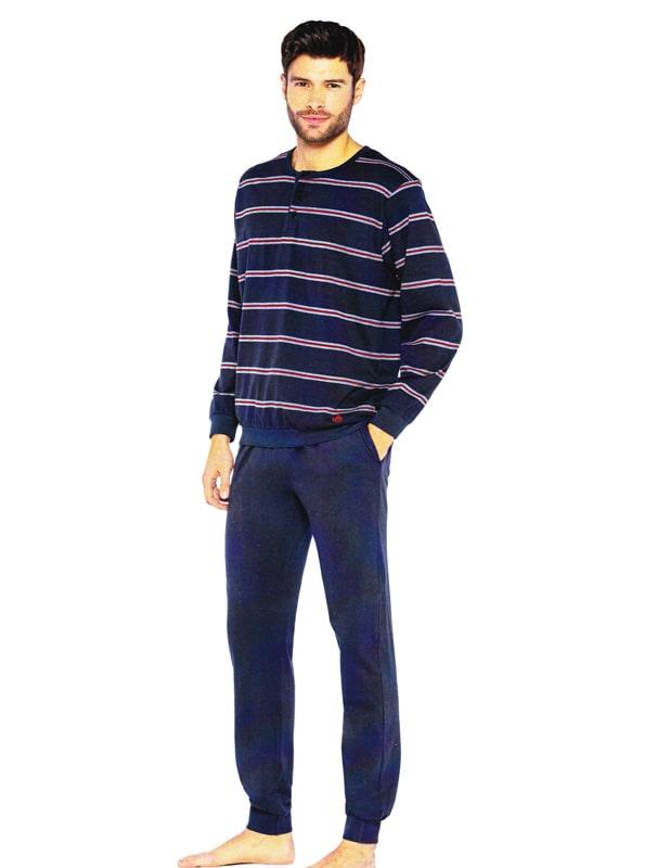 Pijama Guasch de Algodón listado en azul marino con puños