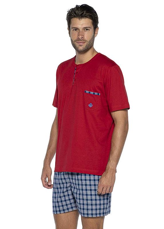 Pijama Guasch de Verano en rojo y pantalón de tela
