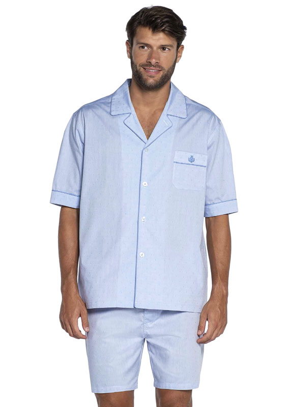 Pijama Guasch de Verano en Tela azul claro con topitos