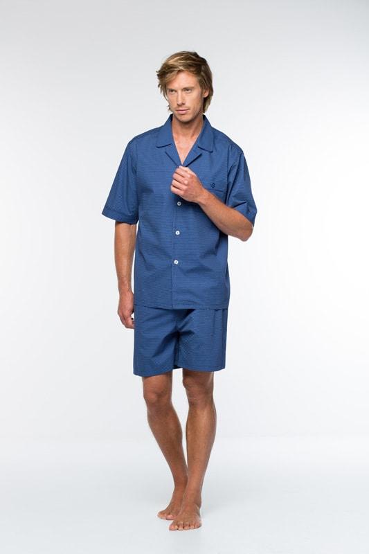 Pijama Hombre Guasch Tela Topitos Blancos