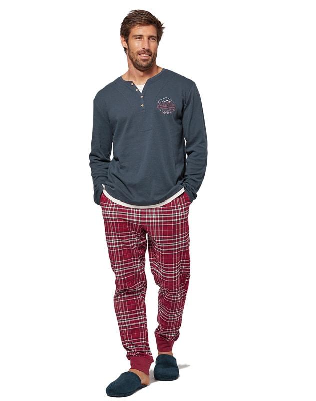 Pijama MuyDeMI en algodón y pantalón de villela con puños