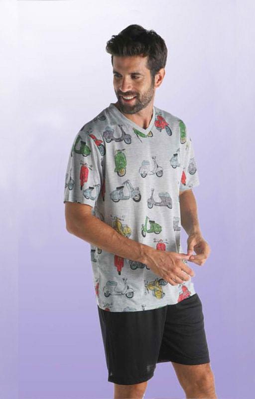 Pijama Pettrus Man Motos Cuello Pico