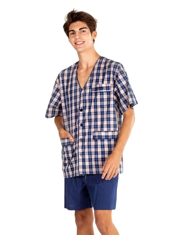 Pijama Pettrus Man en tela sin cuello y cuadritos
