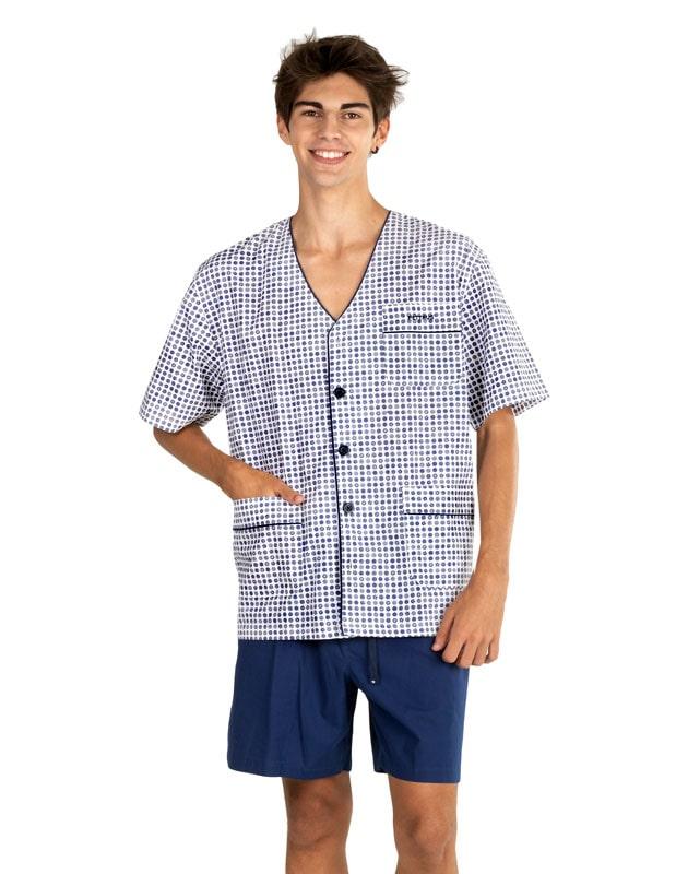 Pijama Pettrus Man en tela estampado con puntos