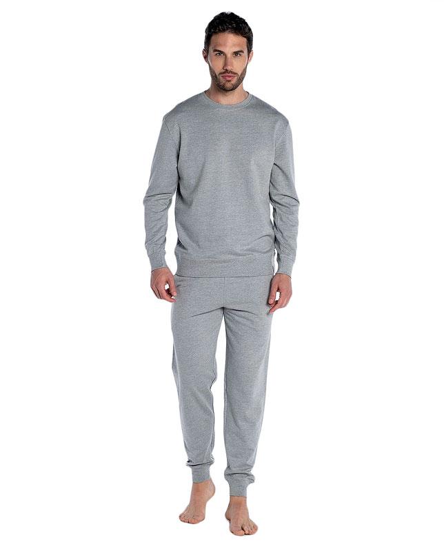Pijama Punto Blanco Basix Afelpado en gris jaspeado con puños