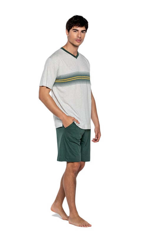 Pijama Punto Blanco Exist de Bambú en gris y verde
