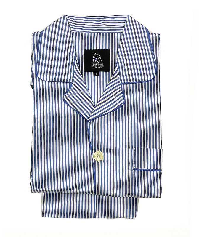 Pijama Kiff-kiff de tela popelín con rayitas en azul