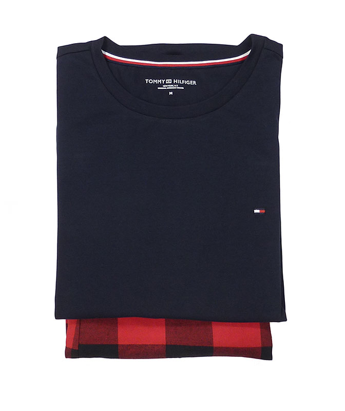 Pijama Tommy Hilfiger azul y rojo en algodón orgánico