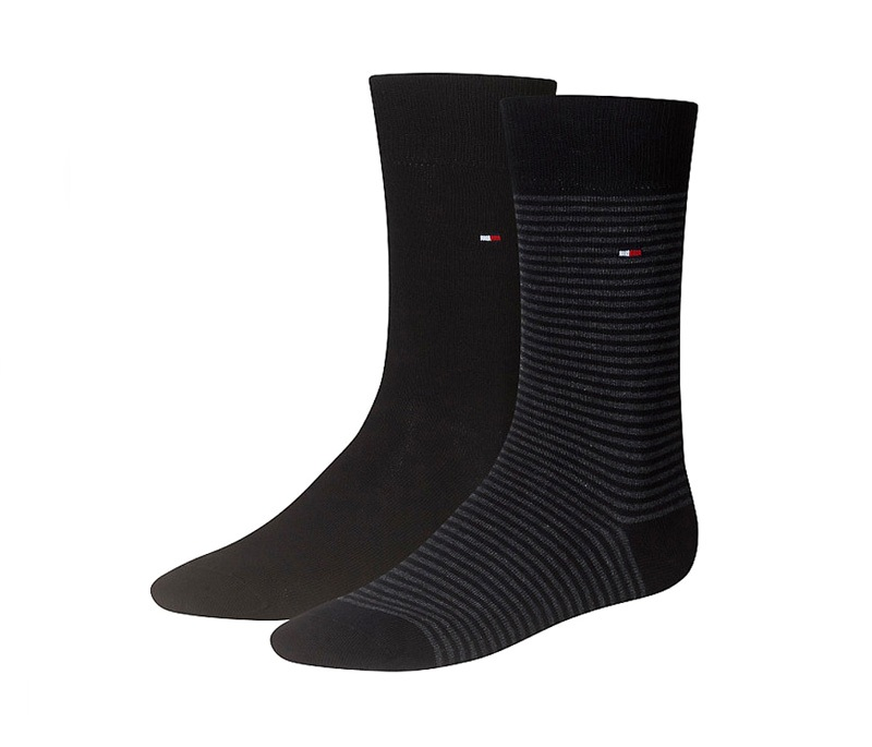 2 Pack Calcetines Tommy rayas negro