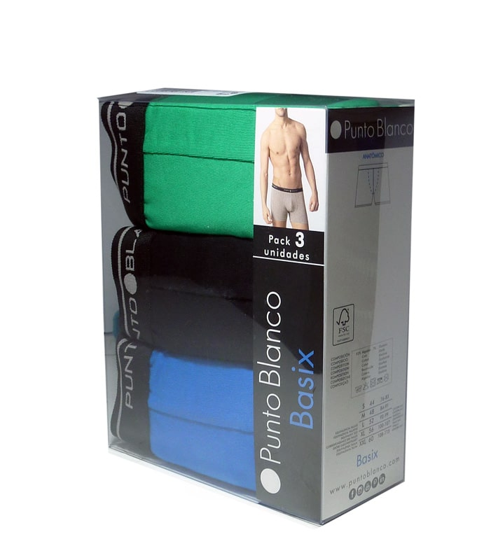 3 Pack Punto Blanco Boxer Basix AzNV