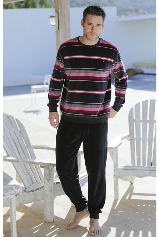 Pijama Massana Terciopelo Listado con puños