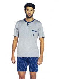 T.E. - Pijama Guasch de Verano en gris con bolsillo en el pecho