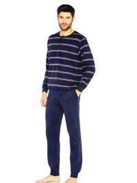 T.E. - Pijama Guasch de Algodón listado en azul marino con puños