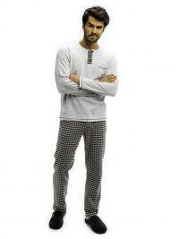 Pijama Barandi en algodón en gris y pantalón de villela