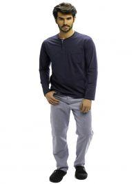Pijama Barandi con bolsillo en el pecho y pantalón de tela