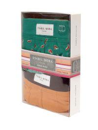 """2 Pack Ysabel Mora Underwear Boxer Naranja y Verde con """"guindillas"""""""