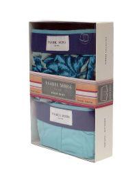 2 Pack Ysabel Mora Underwear Boxer estampado vegetal en azul