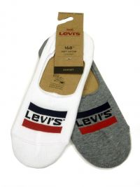 2 Pack de Calcetines Levi´s Invisible en Blanco y Gris
