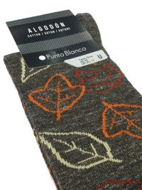 Calcetines Punto Blanco de algodón/lana con hojas