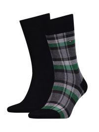 2 Pack de Calcetines Tommy a cuadros verde, gris y negro