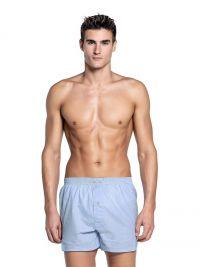 Boxer Punto Blanco en tela liso azul con suspensor