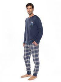 Pijama Muydemi combinado azul con puños